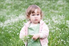 Free Little Beautiful Girl With Bunch Of Flowers Royalty Free Stock Photography - 14865717