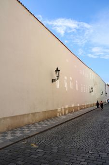Free Old Street Near A Wall, Prague Stock Photography - 14865782