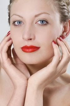 Free Photo Of A Beautiful Woman With Red Lips Stock Photography - 14866562