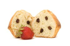 Muffin With Raisins And Strawberry Stock Photos