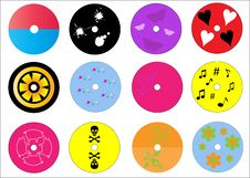 Funky Labels For Cds Or Dvds Royalty Free Stock Image