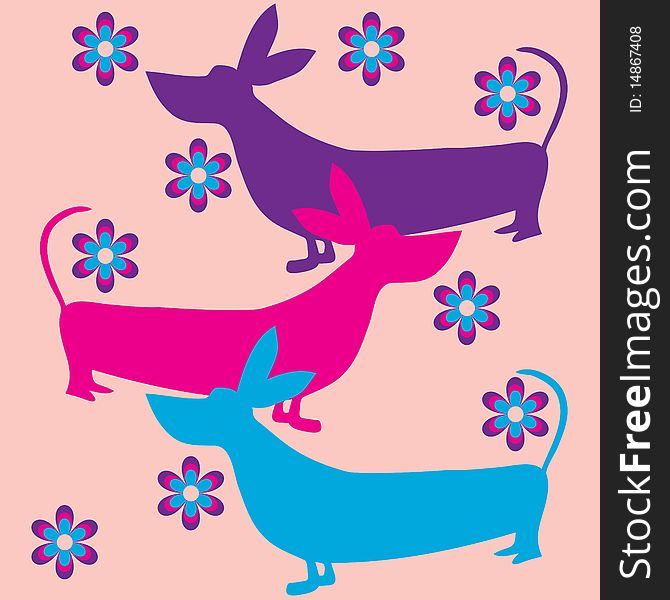 Funky dogs flowers retro background