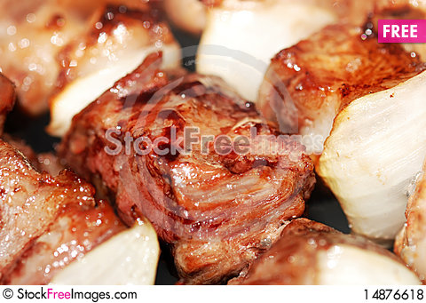 Free Meat Slices Prepare On Fire Royalty Free Stock Photos - 14876618