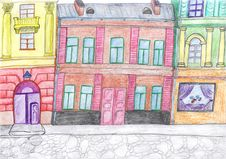 City Colored Drawing, Concept Stock Photos