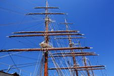 Sails Of Old Sailing Ship Royalty Free Stock Image
