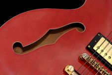 Free Red Guitar Close Up Royalty Free Stock Photography - 14870717