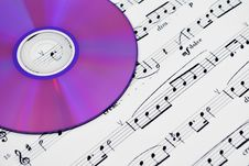 Free Cd Or Dvd Drive And Musical Notes Royalty Free Stock Photos - 14871248