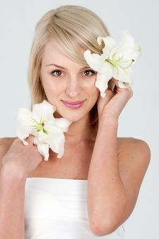 Free Woman With Flower Royalty Free Stock Image - 14871986