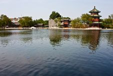Chinese Tower And Lake Royalty Free Stock Photo
