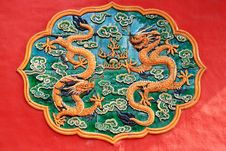 Free Dragon Ceramic Relief In Forbidden City Stock Image - 14874271