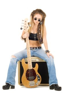Free Beautiful Blonde With A Guitar Stock Images - 14874674