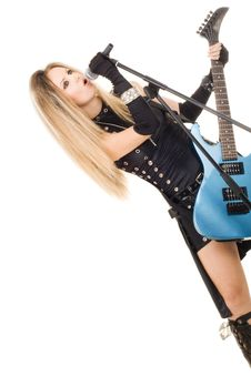 Free Beautiful Blonde With A Guitar Royalty Free Stock Image - 14874686