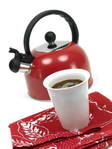 Stove Top Kettle And Coffee Stock Photos