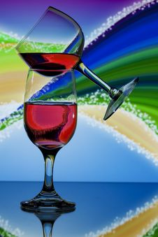 Free Balanced Glasses Of Red Wine Royalty Free Stock Photo - 14874795