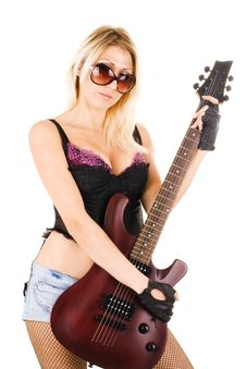 Free Beautiful Blonde With A Guitar Stock Photos - 14874923