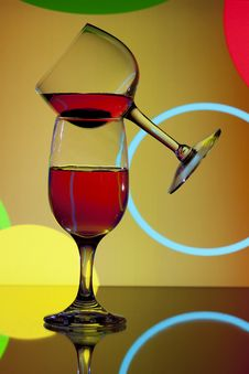 Free Wine Glasses On Circle Background Stock Photo - 14874930