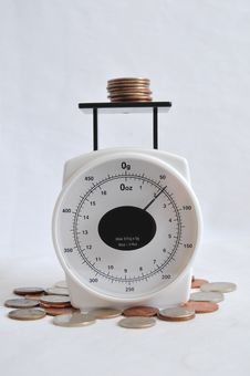 Free Coins On A Weight Scale Royalty Free Stock Images - 14874969