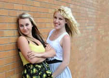 Girls Standing Next To Brick Wall Stock Photography