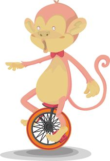 Free A Monkey Doing Cycling Royalty Free Stock Images - 14875819
