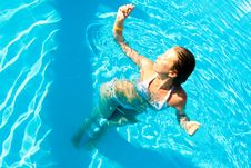 Free Woman In A Pool Royalty Free Stock Image - 14876616