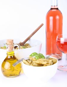 Penne With Pesto, Olive Oil And Wine Royalty Free Stock Image