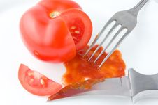 Tomato Ketchup Sauce With Knife And Fork. Stock Photography