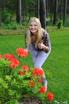 Free Beautiful Gardener Woman With Red Flower Bush Stock Photography - 14878382
