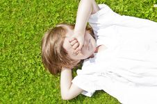 Free Tree Years Old Girl Resting In The Garden Stock Photos - 14879203