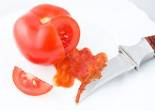 Free Tomato Ketchup Sauce With Knife. Royalty Free Stock Photos - 14880738