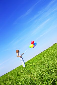 Free Girl And Balloons Stock Image - 14881671