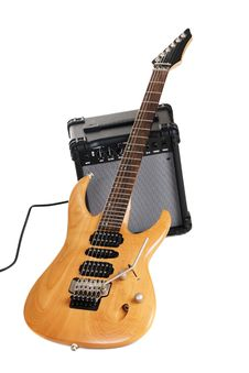 Free Electric Guitar With Amplifier Royalty Free Stock Image - 14882016