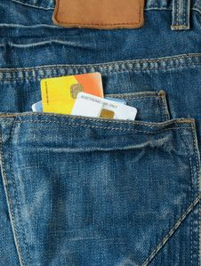 Credit Card And Jeans Pocket Royalty Free Stock Photography