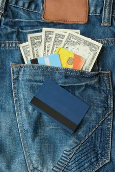 Money With Credit Cards In Pocket Royalty Free Stock Image