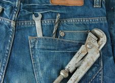 Free Work Tools In Jeans Back Pocket. Royalty Free Stock Images - 14882329