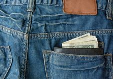 Free Money With Purse In Back Pocket Royalty Free Stock Image - 14882346