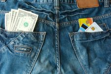 Free Money And Credit Cards In Two Back Pocket Stock Photo - 14882540