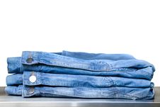 Free Blue Jeans In Store Isolated On White Stock Photography - 14883302