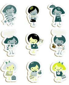 Free Happy Kids Icons Sticker Set Stock Images - 14883314