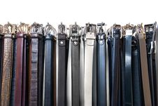 Free A Lot Of Leather Belts In Store Isolated On White Royalty Free Stock Photos - 14883318