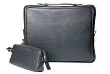 Free Luxury Black Leather Male Bag For Notebook Stock Photography - 14883342