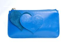 Free Blue Leather Purse With Hearts Isolated On White Royalty Free Stock Photos - 14883348