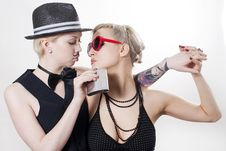 Free Retro Couple Of Gangsters Royalty Free Stock Photos - 14883718