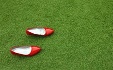 Free Red Female Shoes On Grass Stock Image - 14883871