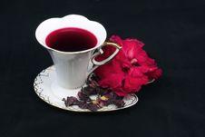 Free Tea Of Karkade On A Black Background Royalty Free Stock Image - 14883916