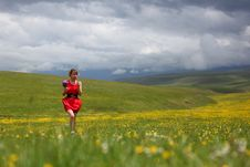 The Girl In Mountains Stock Photography