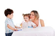 Mother And Her Daughter And Son Royalty Free Stock Photography