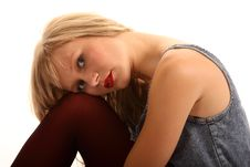 Sexy Young Blonde Haired Woman Stock Photo