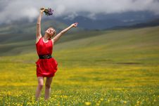 Free The Girl In Mountains Royalty Free Stock Photography - 14884267