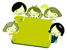 Free Cute Cartoon Kids Frame Royalty Free Stock Photos - 14884478