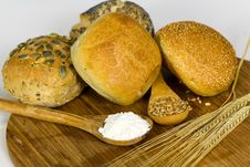Roll Bread With Pumpkin And Poppy Seeds On The Whi Stock Images